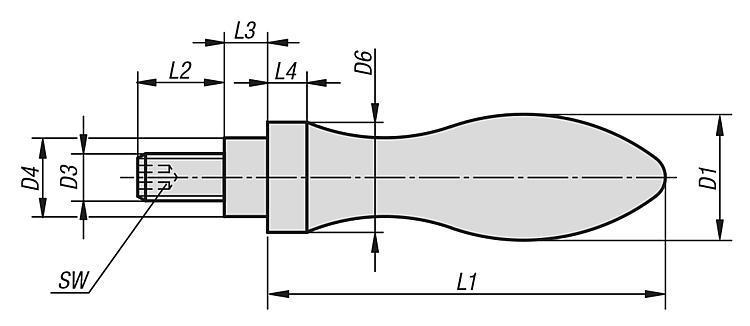 Poignée tournante DIN 98, forme E, en aluminium - Volants, manivelles et poignées