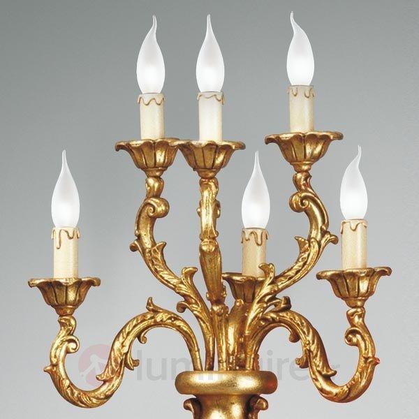 Lampadaire en bois massif, aspect argenté-doré - Lampadaires en bois