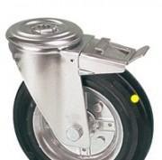 Roulettes pivotantes à oeil plus frein roue jante acier bandage caoutchouc antis - null