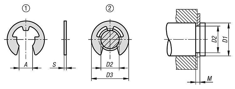 Segment d'arrêt pour arbre DIN 6799 - Éléments de liaison