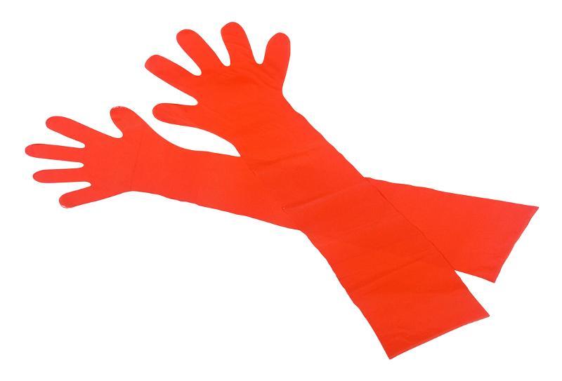 PE-Veterinärhandschuhe, Orange, Länge 900 mm, 50 Stück... - Handschuhe