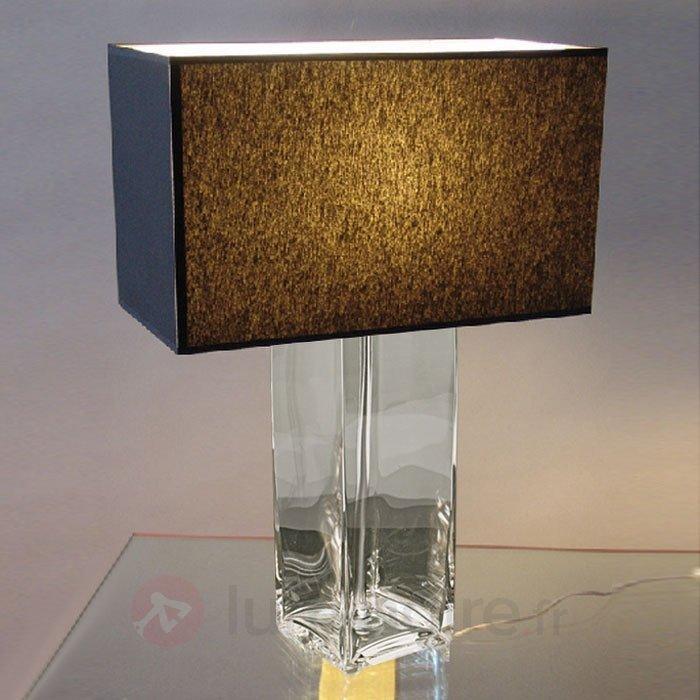 Lampe à poser élégante JANA pied transparent - Lampes à poser en tissu