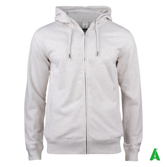 Felpa 100% cotone organico a giacca con cappuccio e zip - Felpa con zip e cappuccio, 100% cotone organico certificato