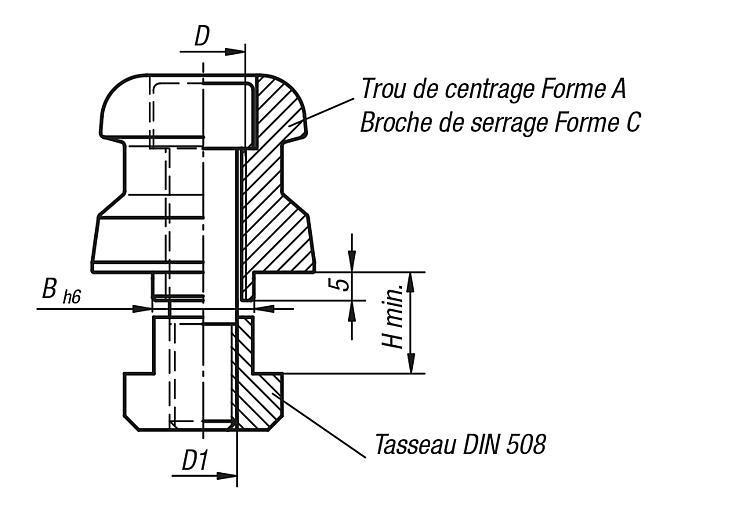 Tenon de serrage 5 axes UNI lock pour rainures en T à... - UNI lock Pas de 80 mm