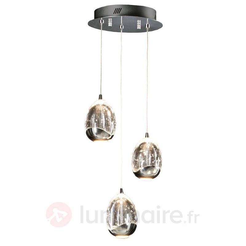 Suspension LED Rocio à 3 lampes, chromée - Suspensions LED