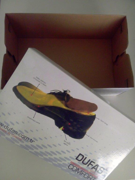 Schuhkarton - Chromopapier Laminiert auf E-Welle & Offsetdruck 4 Farben