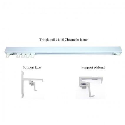 Tringles et accessoires - Tringle rail 24/16 et accessoires pour finition Ruban fronceur