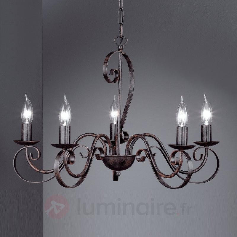 Lustre PISA à 5 ampoules, rustique - Lustres rustiques