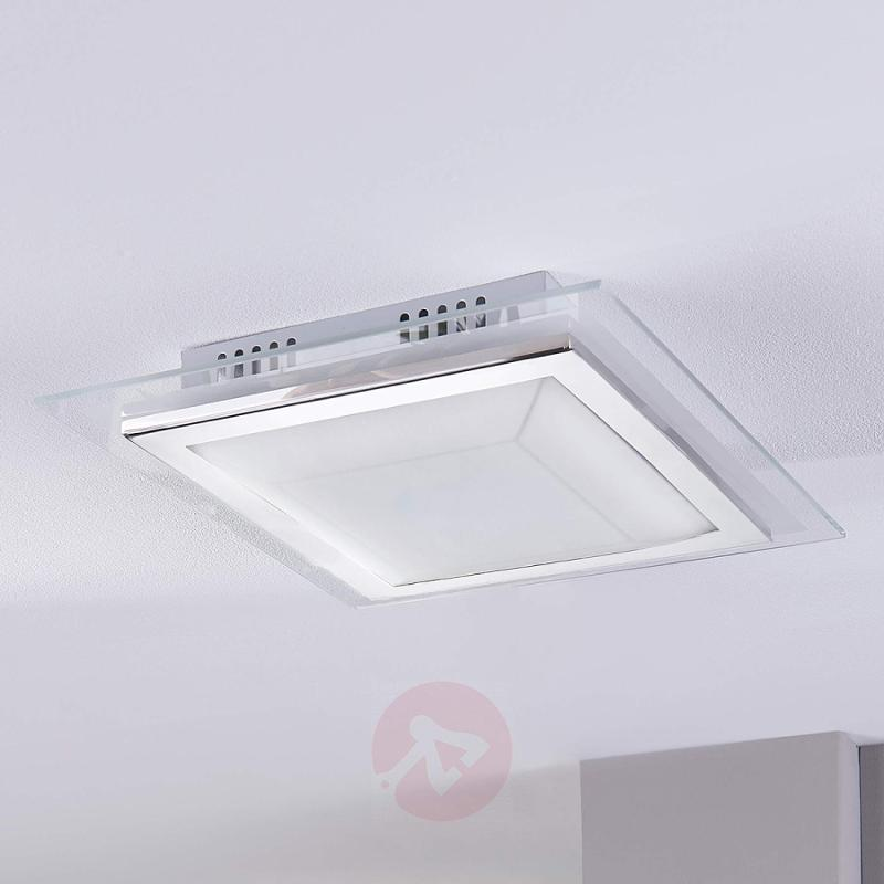 Square glass ceiling light Alessio with LED - indoor-lighting