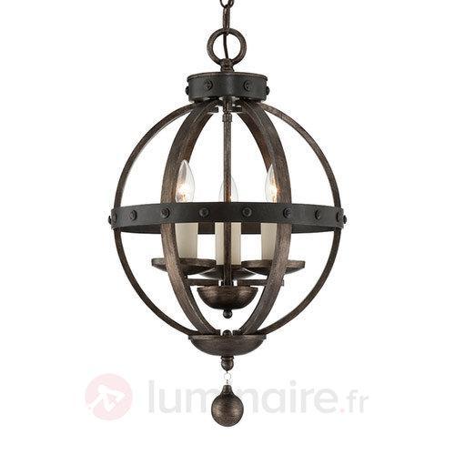 Suspension antique rustique Alsace avec bois - Suspensions rustiques