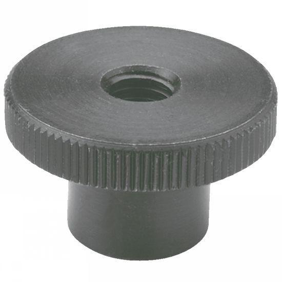 Ecrou moleté - épaulé, acier bruni, acier zingué ou inox