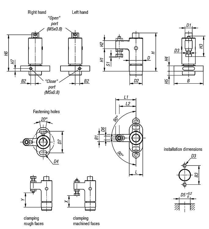 Swing clamp pneumatic - Swing clamps Clamping hooks