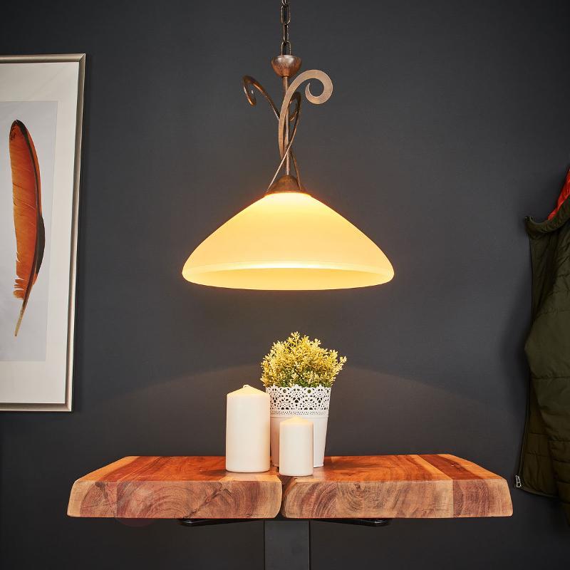 Suspension rustique Luca à 1 lampe - Suspensions rustiques