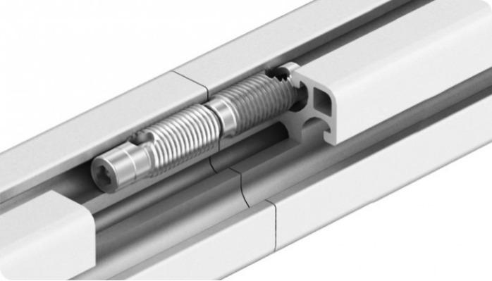 Automatic connector for aluminium profile assembly - To connect two aluminum profiles fast and solid assembly without machining