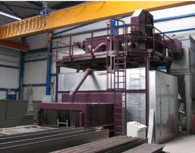Roller conveyor blast machine - Roller conveyor blast machines to remove scale and rust from metal profiles