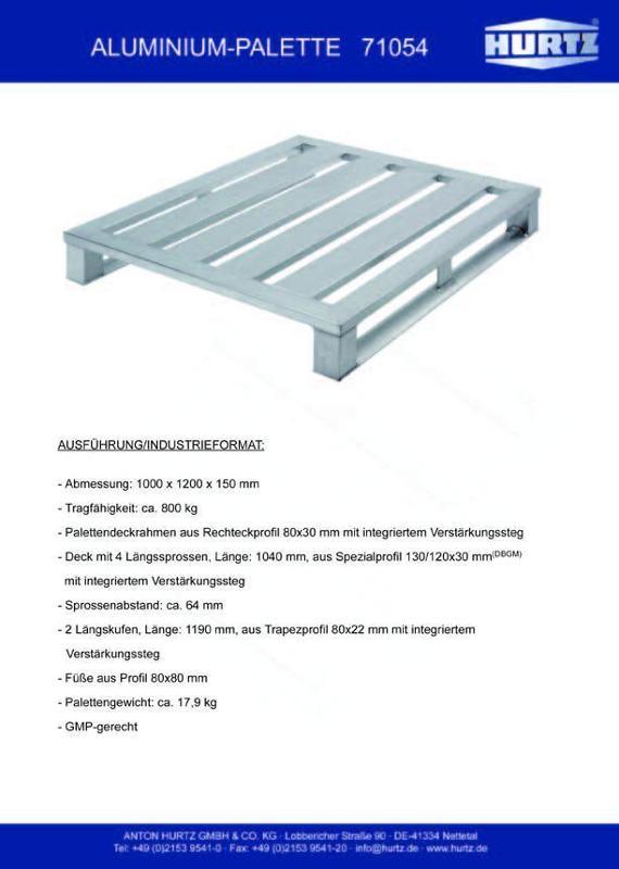Typ 71054 - Hurtz Aluminiumpaletten - Industrieformat
