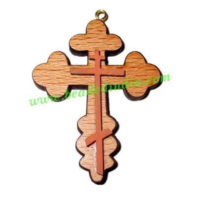Handmade wooden cross (christian) pendants, size : 44x35x4mm - Handmade wooden cross (christian) pendants, size : 44x35x4mm