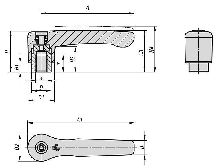 Manette indexable droite avec insert taraudé - Leviers de blocage, manettes indexables