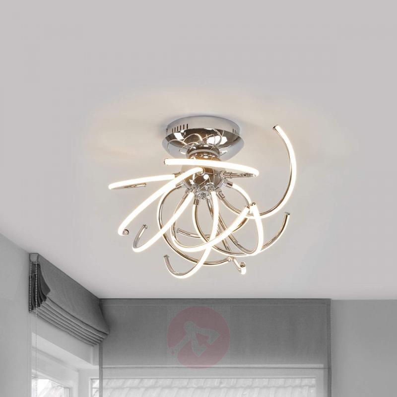 Fantastic chrome ceiling light Azra with LEDs - design-hotel-lighting