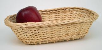 Corbeille ovale osier blanc  - L.24