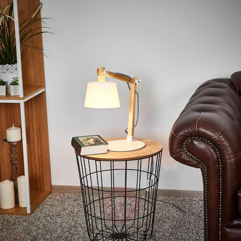 Olly wood table lamp with white lampshade - Table Lamps