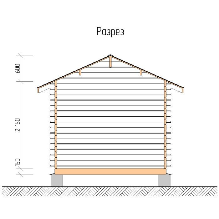 Summer garden house  - Summer garden house 3x3m with a canopy and a porch of 1.3m (Total: 3x4.3 m)