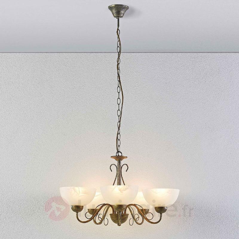 Suspension de salle à manger Mohija 5 lampes - Suspensions rustiques