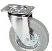 Roulettes série jantes acier bandage caoutchouc gris -