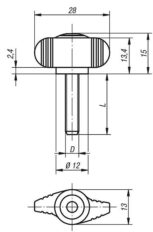 Poignée papillon « Miniwing » antistatique - Poignées et boutons