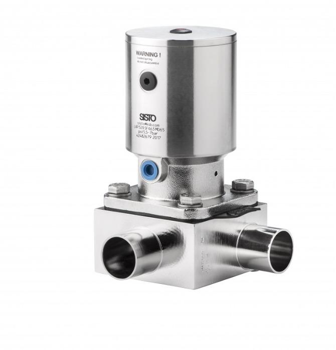 SISTO-C Pneumatically operated Valves MD30-115 - piston actuator, butt welded/Clamp, enclosed diaphragm spirale supported