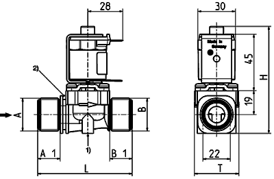 Servo-controlled solenoid valve NO, DN 10 - 36.010.126
