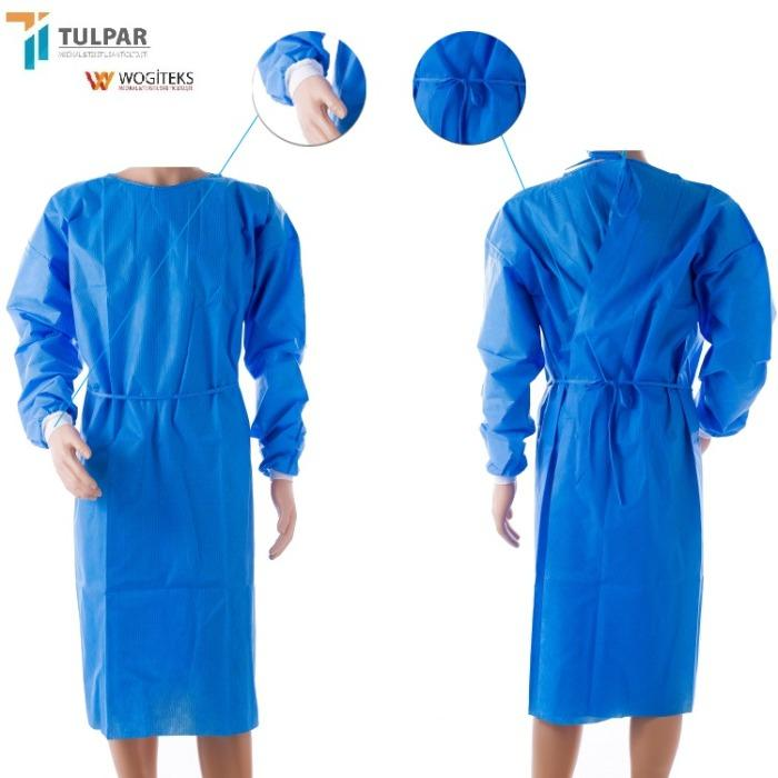 SMS disposable surgical gown - SMS surgical  medical gown  blue  colour  30 40 55 gsm