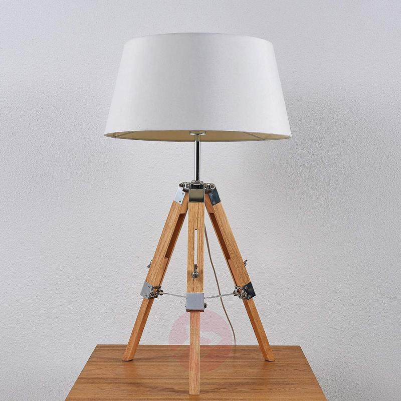 Wooden table lamp Katie with fabric lampshade - indoor-lighting