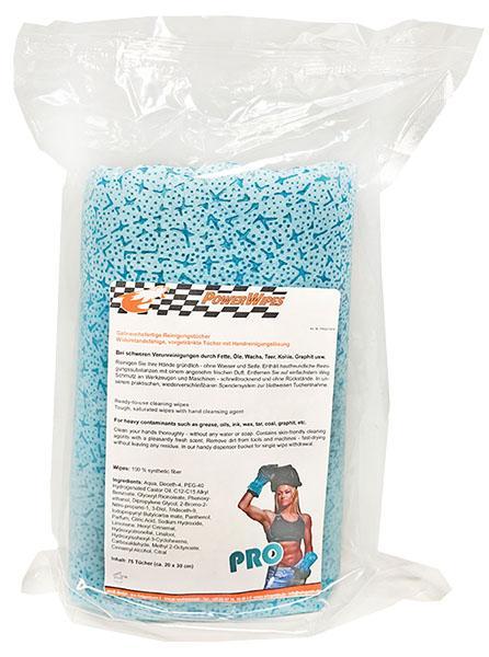 PowerWipes PRO Handreinigungstücher Refill  - 75 Blatt Nachfüllpack für Dose