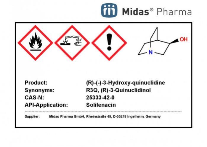 (R)-(-)-3-Hidroxiquinuclidina - (R)-3-Quinuclidinol quiral, R3Q, síntesis adicional; Solifenacin, Aclidinium