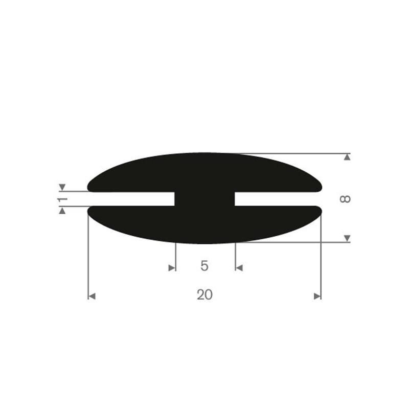 Vollgummi H-Profil 1mm / BxH=20x8mm - Gummiprofile