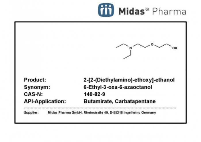2-[2-(Diethylamino)-ethoxy]-ethanol - 2-[2-(Dietilamino)etoxi]etanol; 140-82-9; Intermediario; industria farmacéutica
