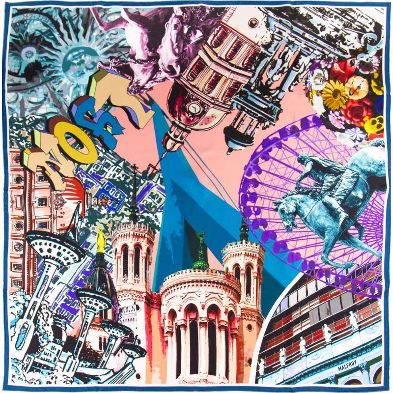 Carré En Twill De Soie Imprimé Lugdunum Lyon - Corail Bleu - HIVER 21-22