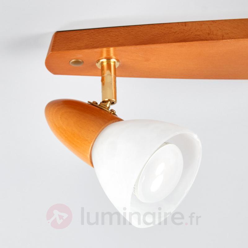 Plafonnier 3 lampes oblong Julia, hêtre cerise - Plafonniers en bois