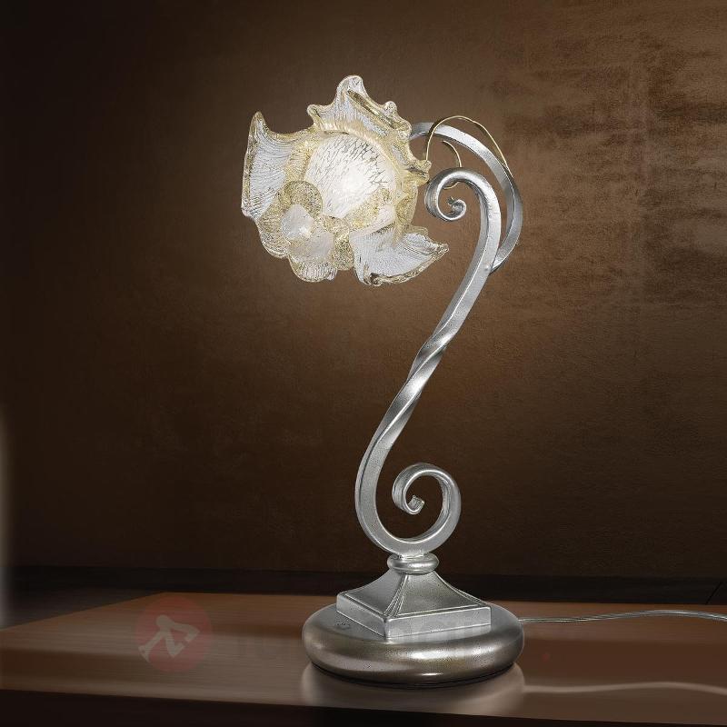 Lampe à poser Rose en fer forgé et verre de Murano - Lampes à poser style florentin