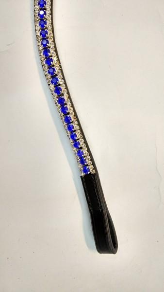 Blue crystal horse browband  - U-Shape 3 Row Crystal Browband