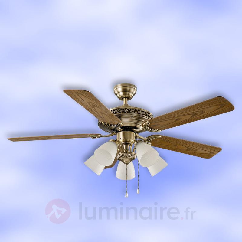 Centurion - Ventilateur de plafond, laiton antique - Ventilateurs de plafond lumineux