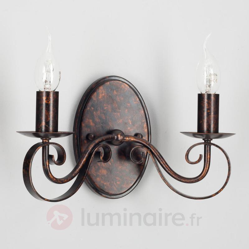 Applique LED Caleb à 2 lampes, couleur rouille - Appliques rustiques