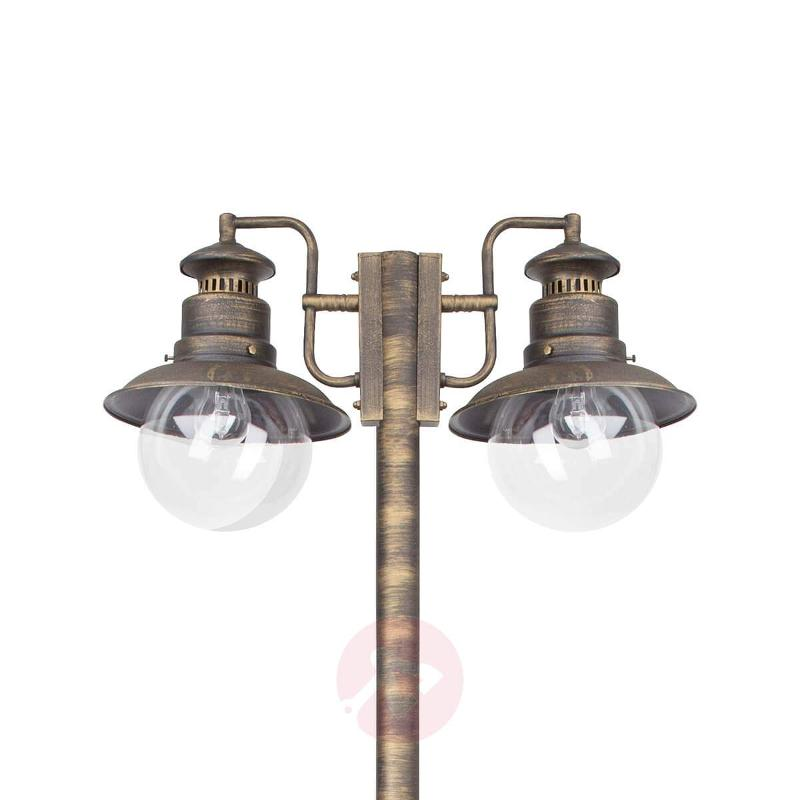 Artu - two-bulb post light in black/gold - Pole Lights