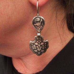 Boucles d'oreilles - Argent, niéllé, Ouzbékistan