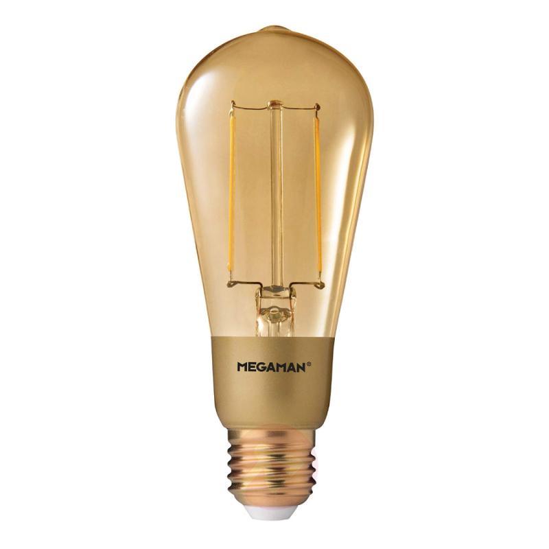 E27 3 W 822 LED Rustic Filament Bulb, gold - light-bulbs