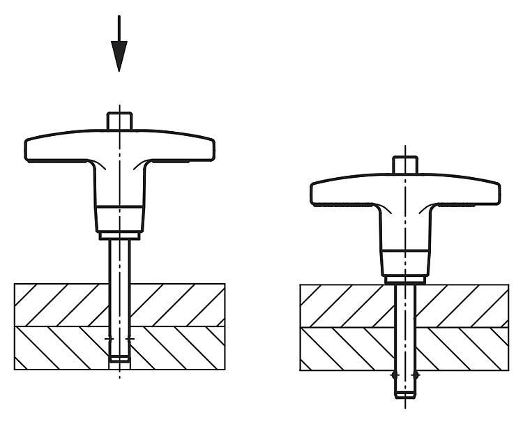 Ball Lock Pins with T-grip, self-locking - K0366