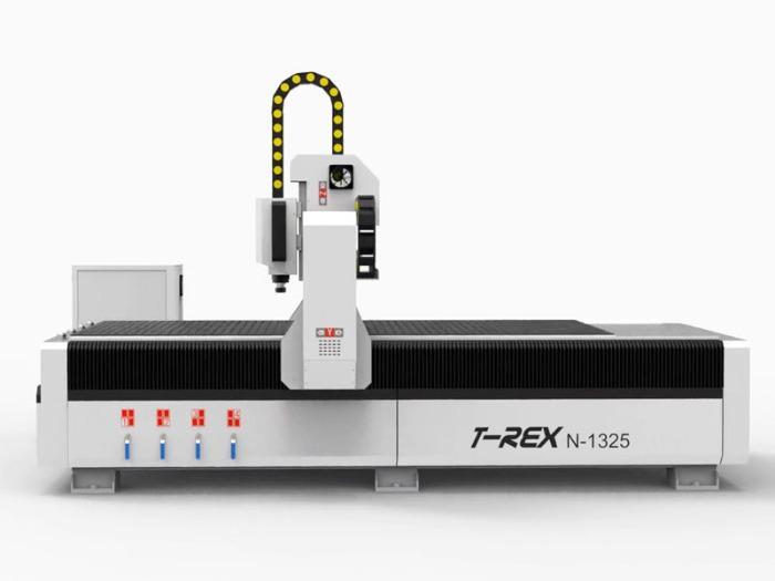 CNC Portalfräse T-Rex N-1325 CNC-STEP - CNC Portalfräsmaschine mit Zahnstangen, Stahlgestell und Faltenbelägen
