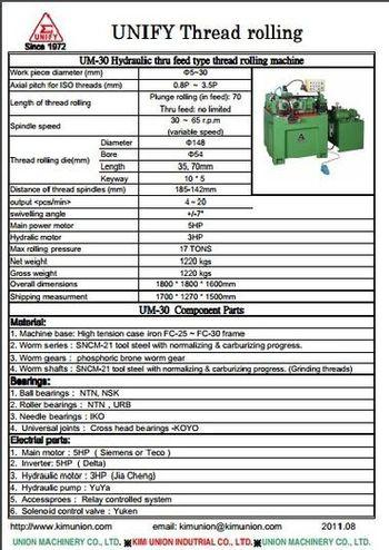 Hydraulic thread rolling machine - The features of UM-30 thread rolling machine