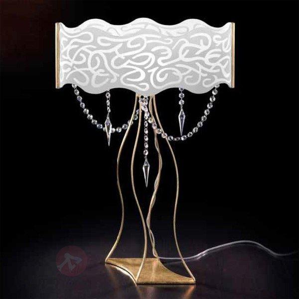 Magnifique lampe à poser à pampilles MAREA - Lampes à poser en cristal